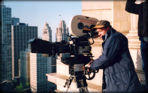 Producer Jack Binder with a Panavision Camera